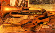 Gold Key Prints - Trumpet and Stradivarius at Rest - Violin - nostalgia - vintage - music -instruments  Print by Lee Dos Santos