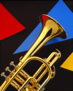Music Metal Prints - Trumpet and Triangles Metal Print by Utah Images