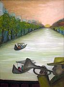 Patrick Paintings - Trumpet by the lake by Philip Okoro