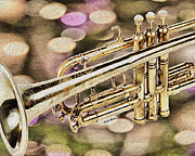 Music Metal Prints - Trumpet Metal Print by Cheryl Young