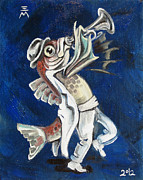 Trumpet Painting Originals - Trumpet Fish by Ellen Marcus
