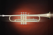 Jazz Band Art - Trumpet in Motion by M K  Miller