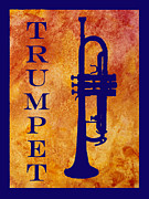 Trumpet Digital Art Metal Prints - Trumpet Metal Print by Jenny Armitage