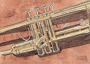 Musical Painting Originals - Trumpet by Ken Powers