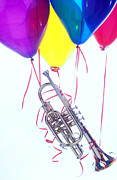 Party Balloons Framed Prints - Trumpet lifted by balloons Framed Print by Garry Gay