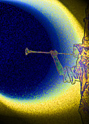 Man In The Moon Mixed Media Prints - Trumpet Moon Print by First Star Art