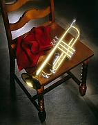 Chair Framed Prints - Trumpet on chair Framed Print by Tony Cordoza