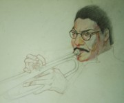 Trumpet Player Drawings - Trumpet Player by Nigel Wynter