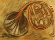 Light And Dark   Drawings - Trumpet by Rashmi Rao