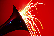 Music Metal Prints - Trumpet shooting sparks Metal Print by Garry Gay