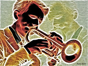 Musical Mixed Media Prints - Trumpet Print by Stephen Younts