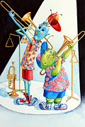 Picture For Children Prints - Trumpet Trombone and Triangle Tunes Print by Hanne Lore Koehler