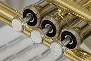 Gold Art Prints - Trumpet Valves Print by Frank Tschakert