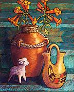 Mexican Pastels Posters - Trumpet Vines and Pottery Poster by Candy Mayer