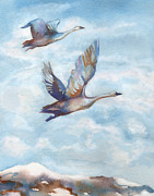 Swans... Paintings - Trumpeter Swans by Peggy Wilson