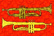 Trumpet Digital Art Metal Prints - Trumpets Metal Print by David G Paul