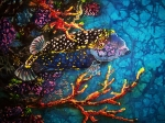 Batiks Tapestries - Textiles Posters - Trunkfish - Male Poster by Sue Duda