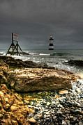 Coastline Digital Art - Trwyn Du Lighthouse by Adrian Evans