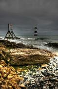 Trwyn Du Lighthouse Print by Adrian Evans