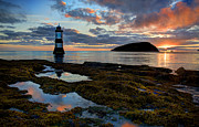 Refection Prints - Trwyn Du Lighthouse Penmon Puffin Island Print by Mal Bray