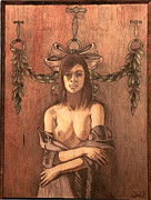 Wall Pyrography Originals - Trying On Lavender by Rj Schiller-artbyfire