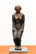 Archaeology Sculptures - Tsalmit following an ancient Knanite woman figure naked in partial bow by Rachel Hershkovitz