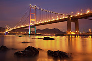 Ma Prints - Tsing Ma Bridge After Sundown Print by Photography by Claire Chao
