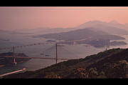 Hong Kong Tapestries Textiles - Tsing Ma Bridge And Ting Kau Bridge In Hong Kong by Yiu Yu Hoi