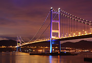 Ma Prints - Tsing Ma Bridge At Night Print by Leung Cho Pan
