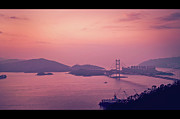 Hong Kong Photos - Tsing Ma Bridge In Hong Kong At Dusk by Yiu Yu Hoi