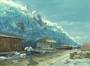 Wave Drawings - Tsunami by Chris Butler and Photo Researchers