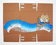 Cardboard Mixed Media Originals - Tsunami Image by Charles Stuart