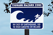 Escape Route Framed Prints - Tsunami Warning Sign Framed Print by Georgette Douwma