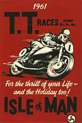 Motorcycle Racing Framed Prints - TT Races 1961 Framed Print by Nomad Art And  Design