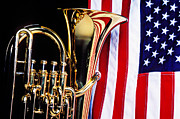 Red White Blue Prints - Tuba and American flag Print by Garry Gay
