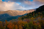 Beautiful Clouds Posters - Tuckermans Ravine in Autumn Poster by Susan Cole Kelly