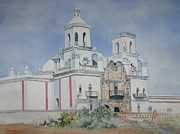 Church Prints Paintings - Tucson Mission by Marilyn  Clement