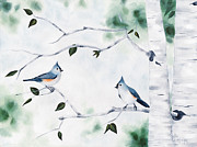 Titmouse Paintings - Tufted Titmouse on Aspen by Robin Champagne