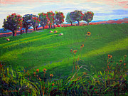 Hay Bales Paintings - Tufts in Early Autumn by Allison Coelho Picone