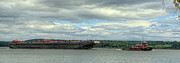 Kingston Digital Art Prints - Tug and Barge on Hudson Print by Donna Lee Blais