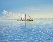 Great Painting Originals - Tug Barge off Park Point by Dan Shefchik