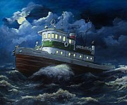 Storm Prints Painting Posters - Tug boat on rough water Poster by Virginia Sonntag