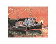 Moored Paintings - Tug Boats anchored in red sky by Jack Pumphrey