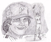 Baseball. Philadelphia Phillies Drawings - Tug McGraw by Chris  DelVecchio