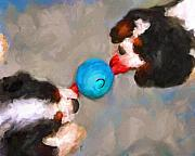 Spaniels Paintings - Tug of War by Jai Johnson