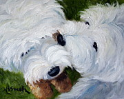 Westie Art - Tug of War by Mary Sparrow Smith