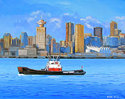 City Scape Paintings - Tug passing 5 sails by Eric Hansen