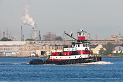 Captain America Photo Prints - Tugboat Captain D in Newark Bay I Print by Clarence Holmes