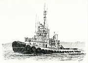 Pacific Northwest Drawings Posters - Tugboat DANIEL FOSS Heading Out Poster by James Williamson