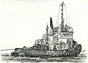 Northwest Drawings Prints - Tugboat DAVID FOSS Print by James Williamson